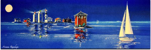 En tavla med alla fyrar på Nidingen lysande och vägledande för sjöfarten. Nattbild med måne och ett ovanligt lugnt hav. Segelbåten kan känna sig trygg.