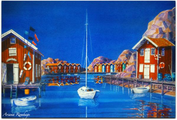 mögen är ett fiskesamhälle i Bohuslän, Västkusten. Smögenbryggan leder från hamnen till Smyghålet. Sjöbodar ligger på rad. Många segelbåtar i hamnen.