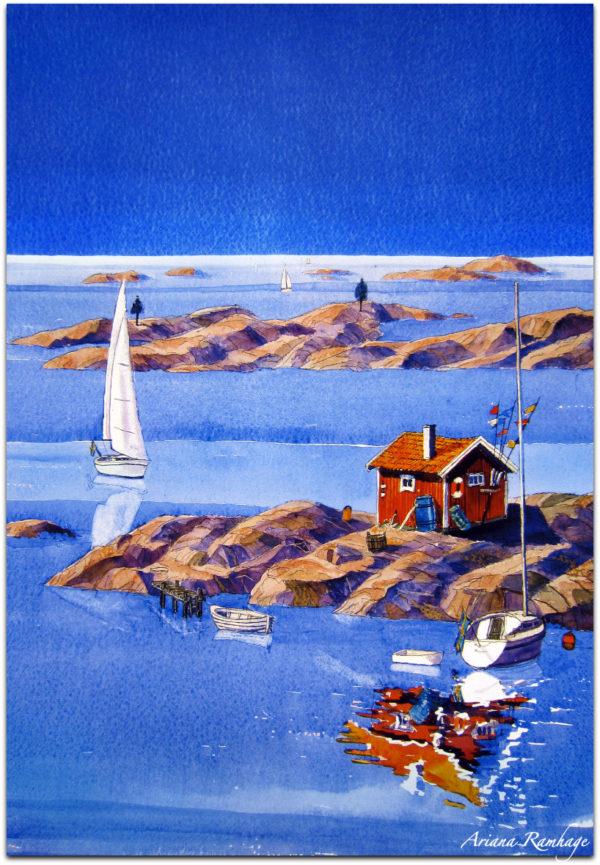 Naturhamn i Bohuslän, Västkusten en vacker sommardag. Segelbåtar på väg till naturhamnen. solen skiner och det är alldeles lagom vind.