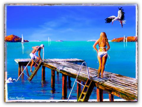Bryggan i Fiskebäckskil Morgon Fine Art