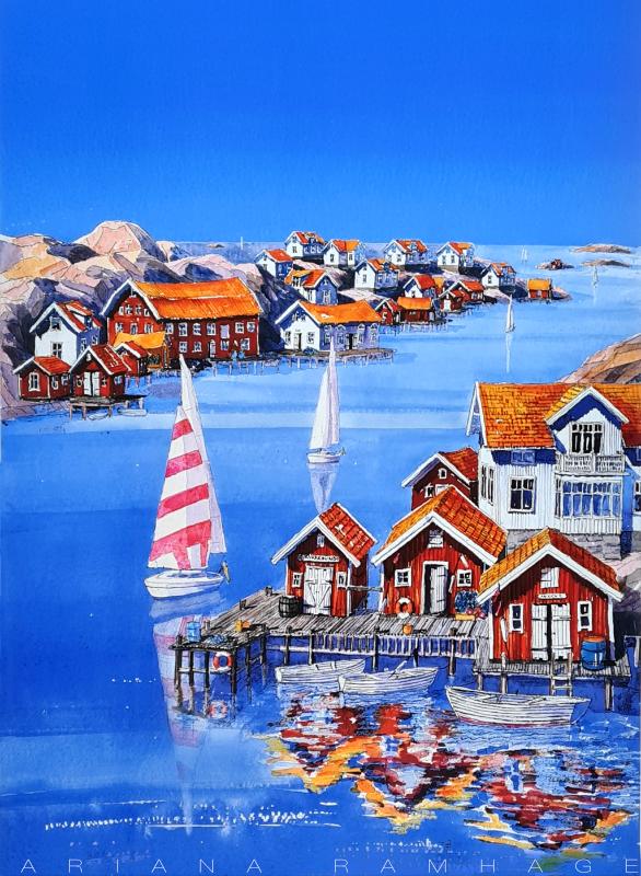 Vy över sundet i Kyrkesund med segelbåtar