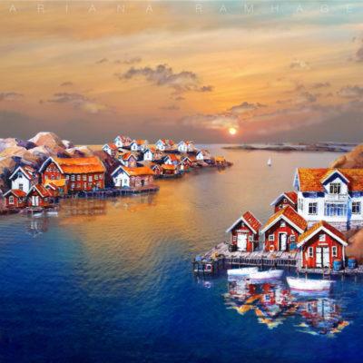 Kyrkesund har en av de mest pittoreska vyerna på hela Tjörn. Ett smalt sund med traditionella bohuslänska hus och sjöbodar på båda sidor av sundet.