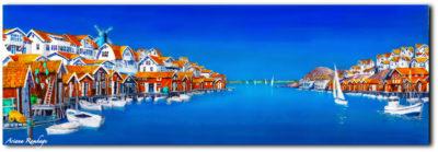 Fiskebäckskil. En lång akvarell från Fiskebäckskil, målad från båten en solig vårdag.