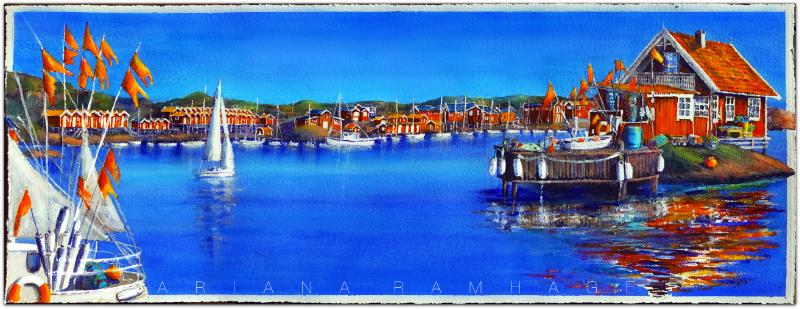En färgstark,  bild med Eskils kanal i Önnered.