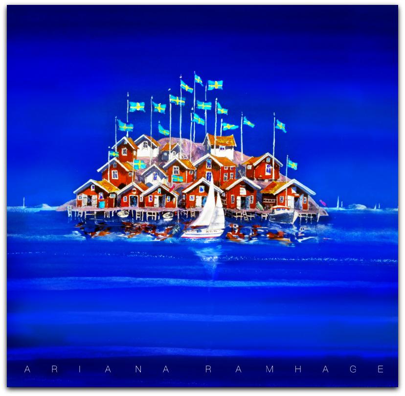 Många flaggor vajar öve sjöbodar. En bohuslänsk ö.