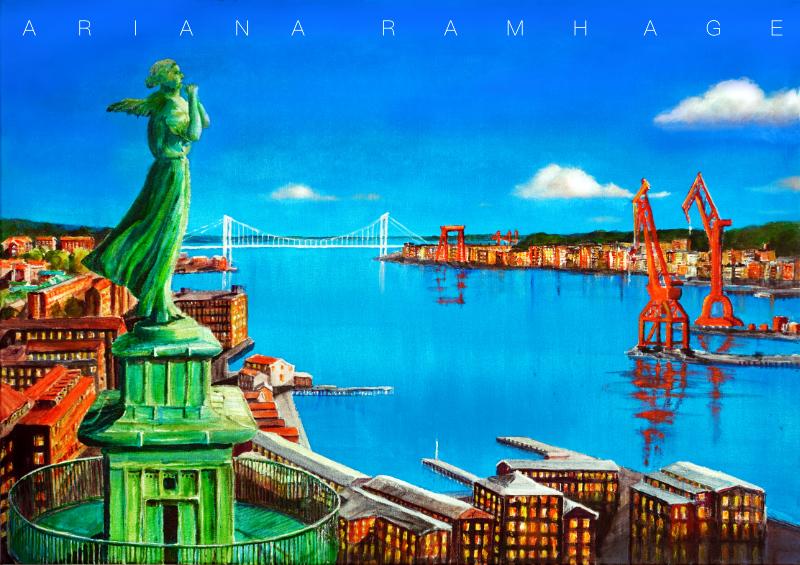 Göteborg, Hamnen och kranarna En stor oljemålning 100x 700, mått utan ram, eftersom inre ramen är tjock behövs ingen yttre ram. Tavlan fortsätter runt hörnen.