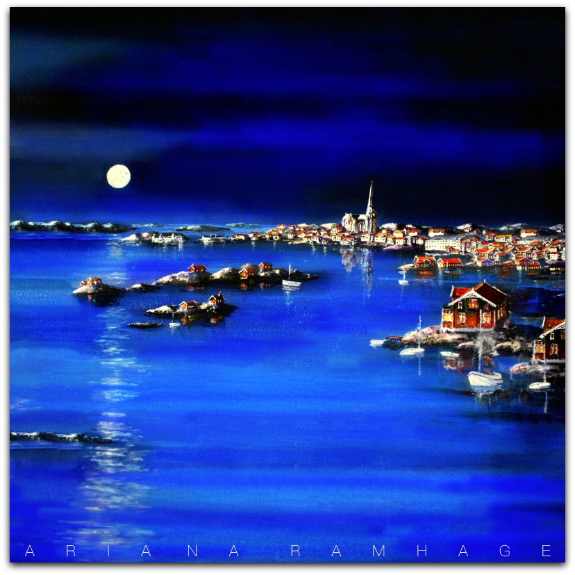 Nattbild över månbelyst Lysekil.