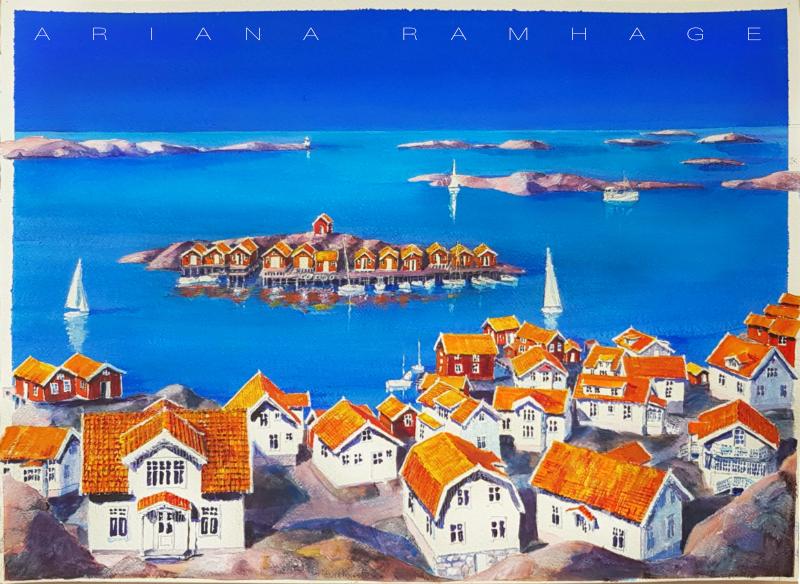Edshultshall, Orust Akvarell Är i skrivande stund den nyaste akvarellen i ateljén. Juni 2020 Stor tavla 96 x 77 cm