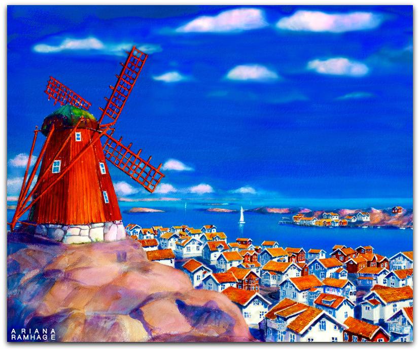 Vy från berget över Mollösund. Den röda kvarnen i förgrunden.