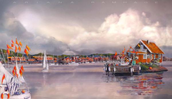 Eskils Kanal belägen i Önnered, västra Göteborg, är en charmigt sund med många segelbåtar och sjöbodar längs båda sidor av det smala sundet.
