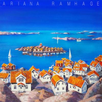 Edhultshall, Orust. Vy från berget över hamnen och havet. Samhället kallas även Halla. Ligger norr om Mollösund.