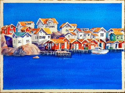 Klädesholmen-bodar och hus är en mindre akvarell med röda fiskebodar och vita hus under blå sommar himmel.