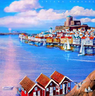 Marstrandsön med fästning och sjöbodar på Koön.